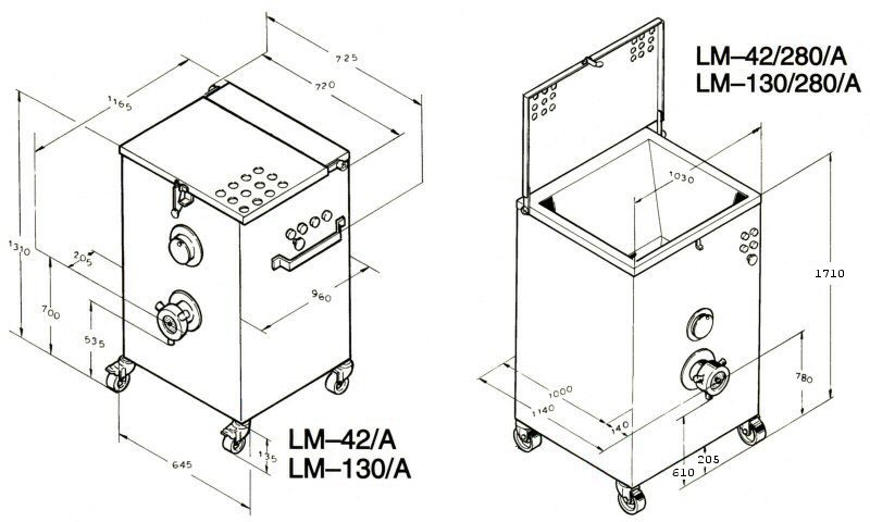 Dimensional drawings LM-42A & LM-42/280/A