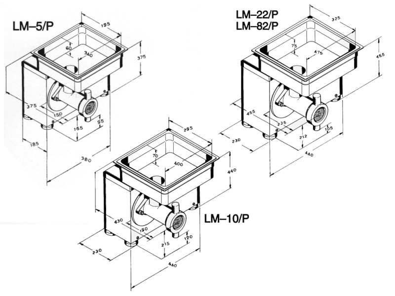 Dimensional drawings LM-5P, LM-10P & LM-22P/LM-82P